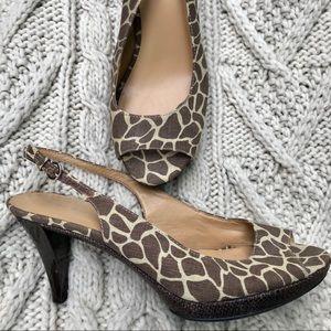 Nine West Giraffe Print Slingback Peep Toe - 10